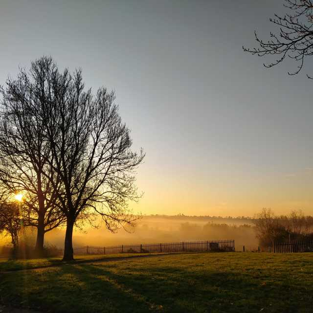 """Sunrise at Cummersdale Holmes 1"" stock image"