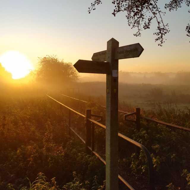 """Sunrise at Cummersdale Holmes 2"" stock image"