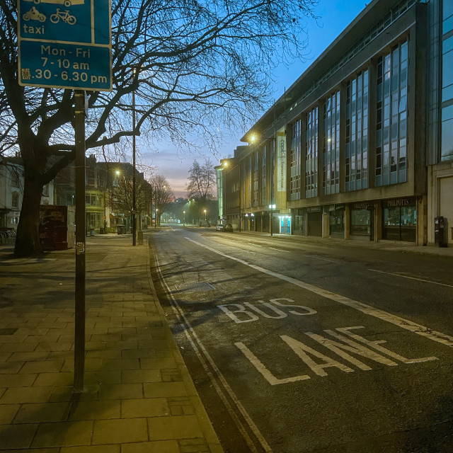 """Sun rise over the bus lane"" stock image"