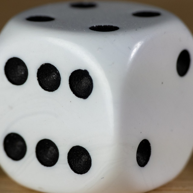 """Close up of a white dice"" stock image"