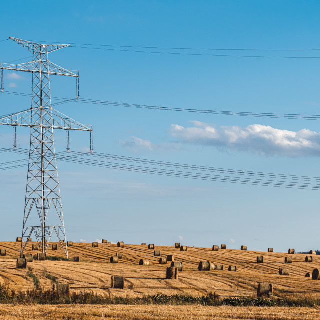 """""""Straw bales on the field near high electricity pylons"""" stock image"""