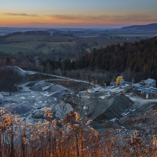 """""""Mining in a granite quarry Sloupno and in the background a beaut"""" stock image"""