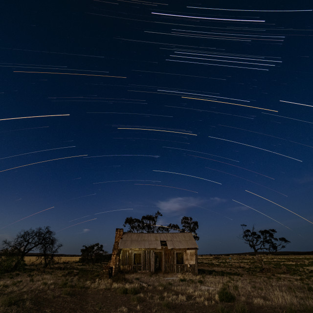"""""""SEttlers Cottage and Stars"""" stock image"""