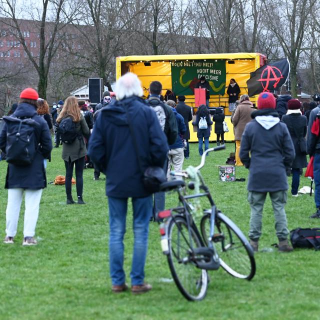 """""""Amsterdam Nederland 10 januari 2021 In de Westerpark in Amsterdam vindt een..."""" stock image"""