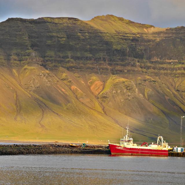 """""""Grundarfjordur harbor, ship & mountains"""" stock image"""