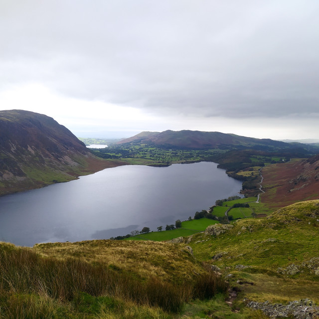 """""""Crummock Water from Rannerdale Knott"""" stock image"""