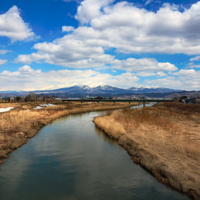 """The Furano River, Hokkaido Japan"" stock image"