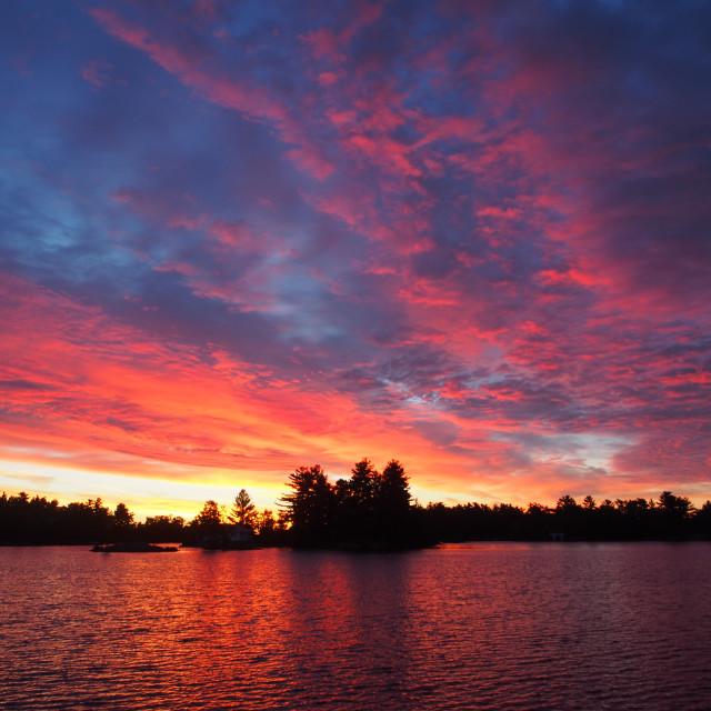 """""""Vibrant Sunrise at Stony Lake"""" stock image"""