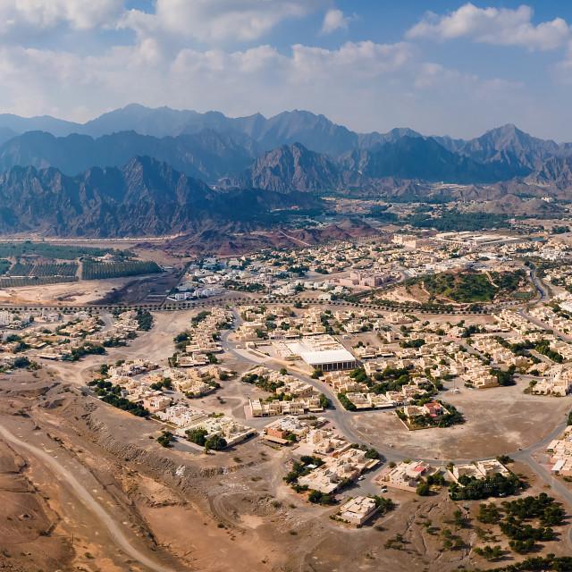 """Hatta town aerial cityscape in Dubai emirate of the UAE"" stock image"