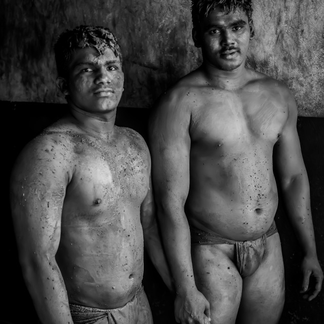 """""""Kushti Wrestlers, Kolhapur, India"""" stock image"""