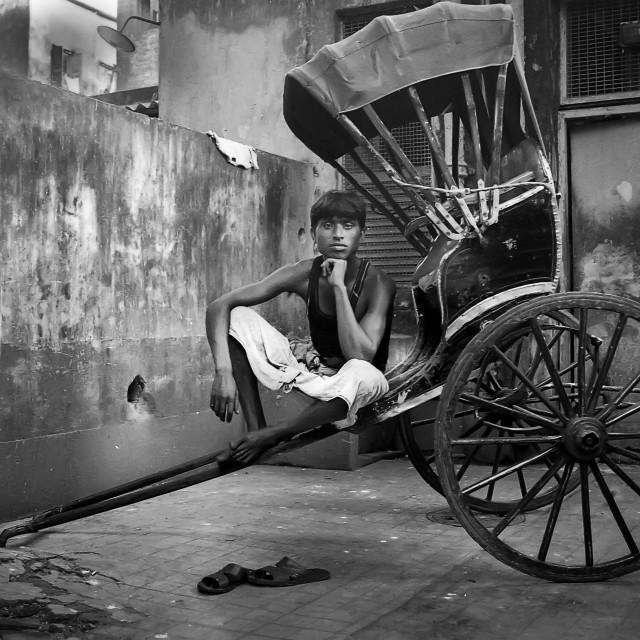 """Rickshaw Puller, Kolkata, India"" stock image"