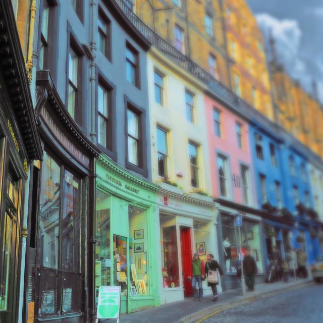 """West Bow historic street in Edinburgh"" stock image"