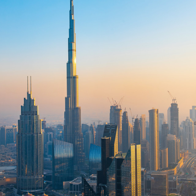 """Dubai downtown skyline view at sunset"" stock image"