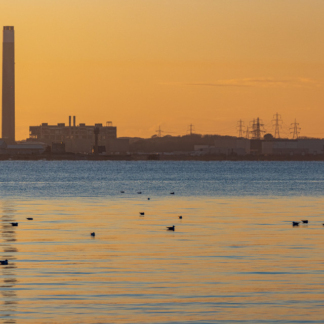 """""""Old Fawley Power Station at sunset"""" stock image"""