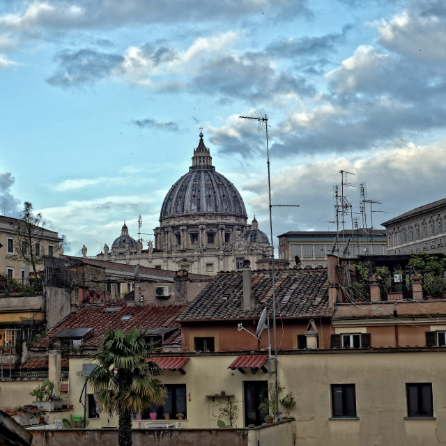 """St Peter's Basilica and rooftops of Rome"" stock image"