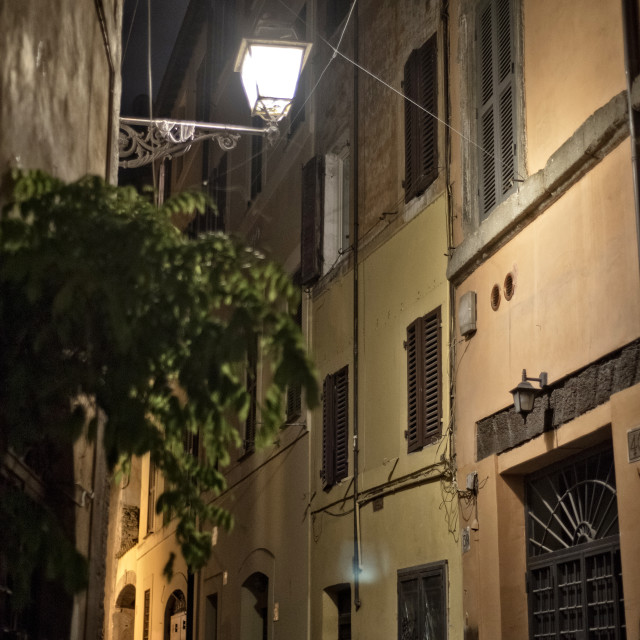 """Night street in Rome"" stock image"