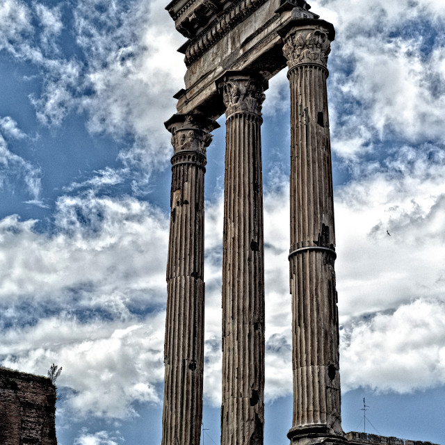 """The remains of the temple of Castor and Pollux"" stock image"