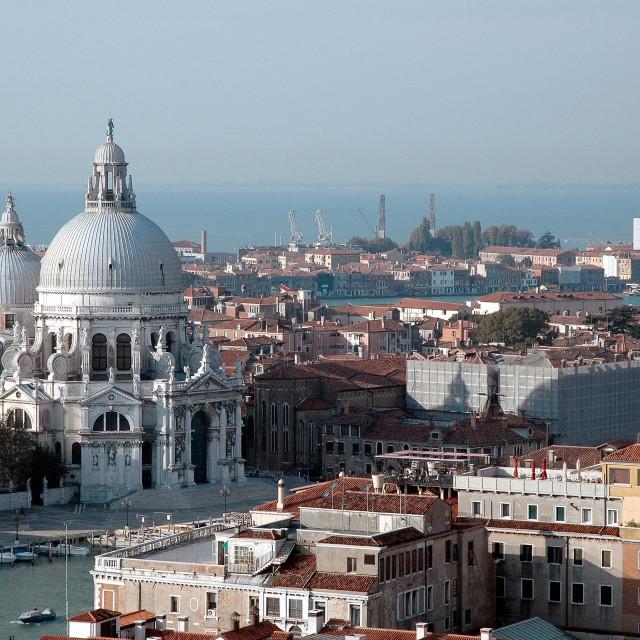"""""""Dorsoduro district with Chiesa Santa Maria della Salute"""" stock image"""
