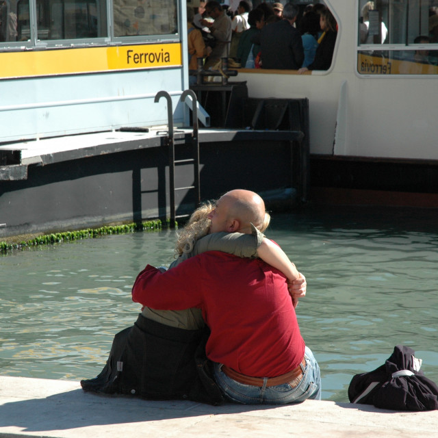 """""""Couple embracing in Venice"""" stock image"""