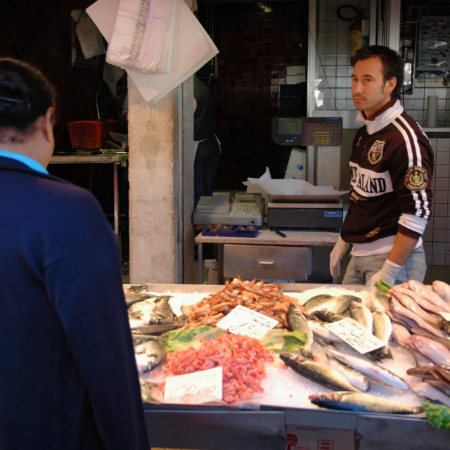 """Fish stand, Rialto marketFish stand, Rialto market"" stock image"