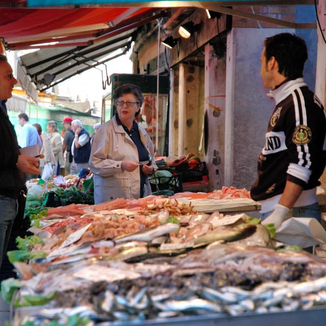 """""""Fish stand, Rialto market"""" stock image"""