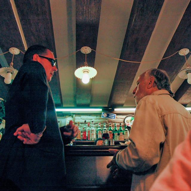 """""""Venetian men at bar"""" stock image"""