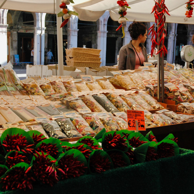 """Pasta & peppers, Rialto market"" stock image"