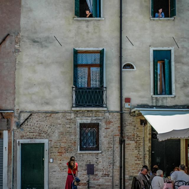 """Venetians chatting"" stock image"