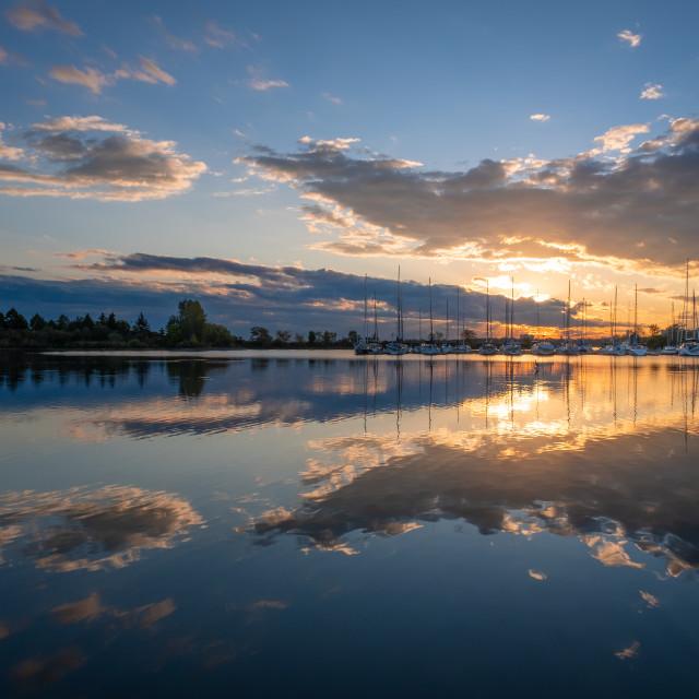 """Sunset at Colonel Samuel Smith Park Marina, Toronto, Ontario"" stock image"