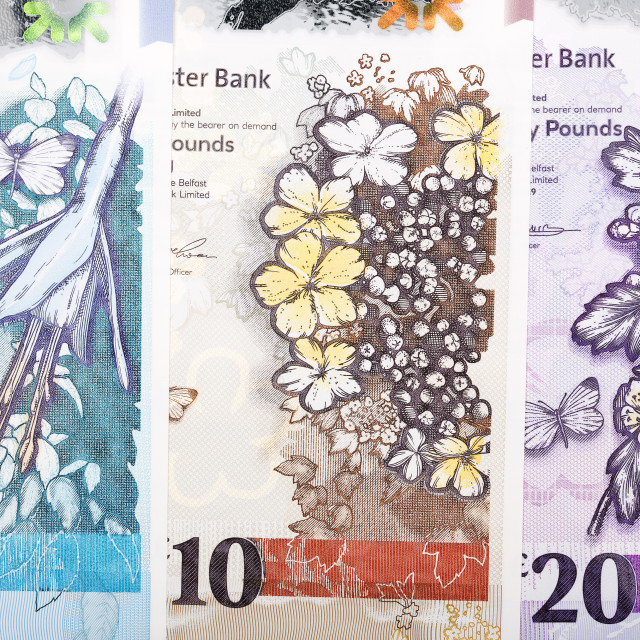 """Banknotes of Northern Ireland a business background"" stock image"