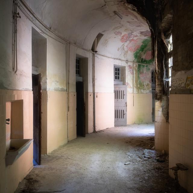 """Creepy Hallway in Abandoned Hospital"" stock image"