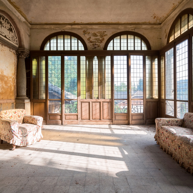 """""""Abandoned Room with Sofa"""" stock image"""