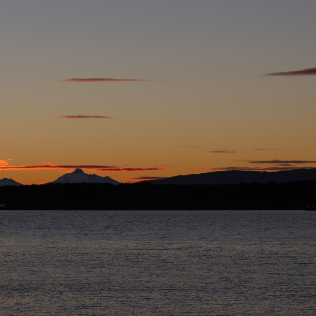 """Sunset, Puerto Natales waterfront, Patagonia, Chile"" stock image"
