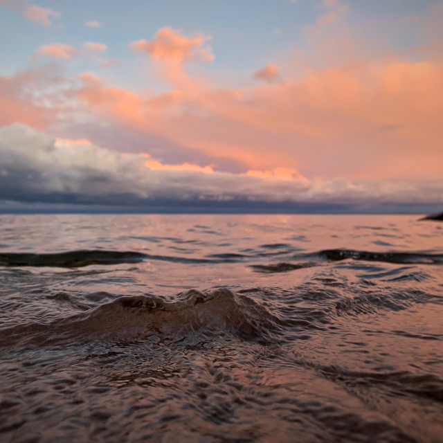 """""""Little wave, big clouds, Marquette"""" stock image"""