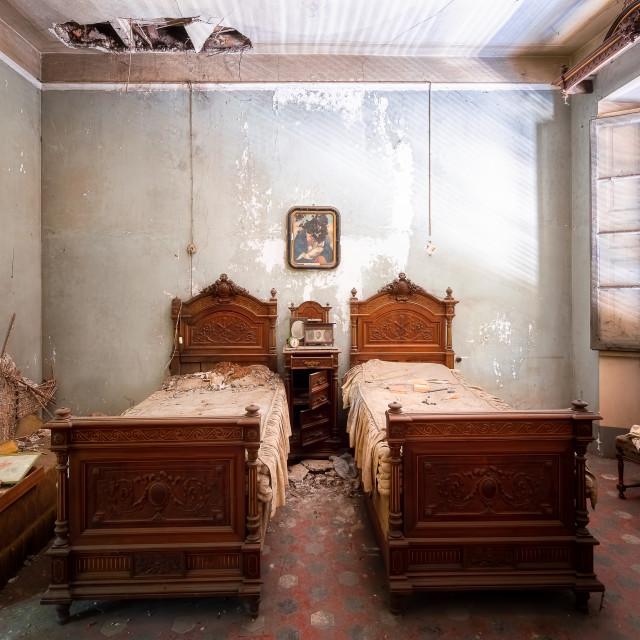 """Abandoned Vintage Bedroom"" stock image"