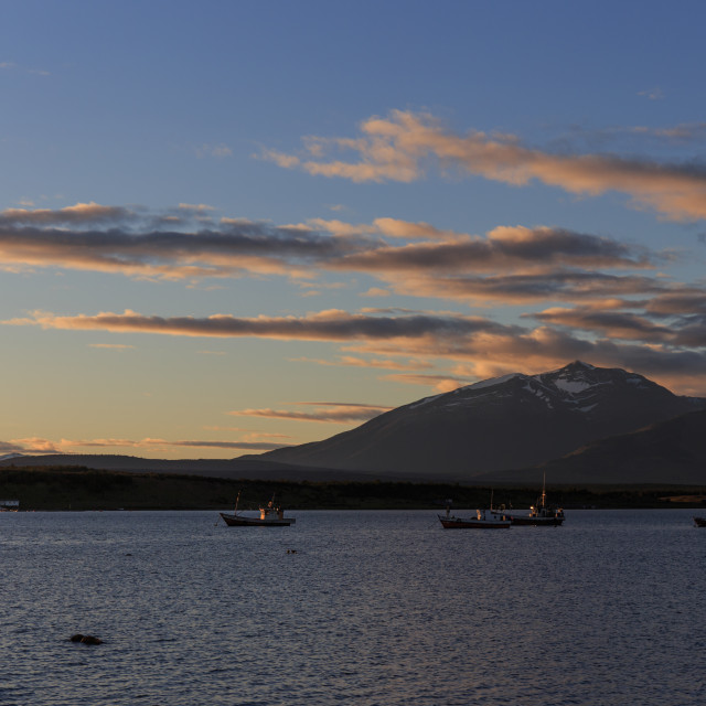 """Puerto Natales waterfront at dusk, Patagonia, Chile"" stock image"
