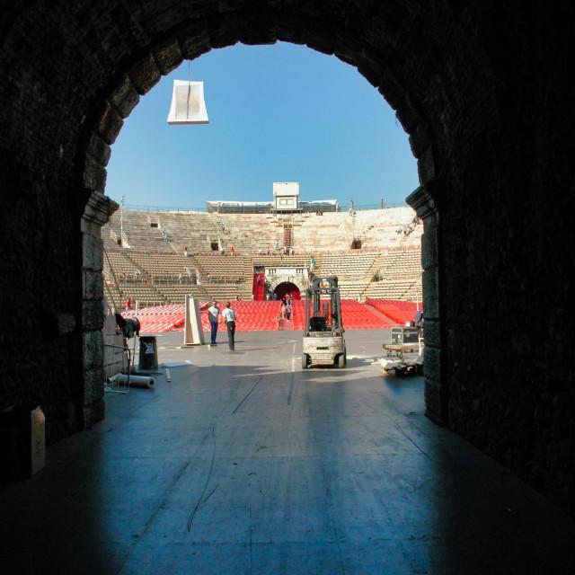 """Verona Roman arena stage"" stock image"