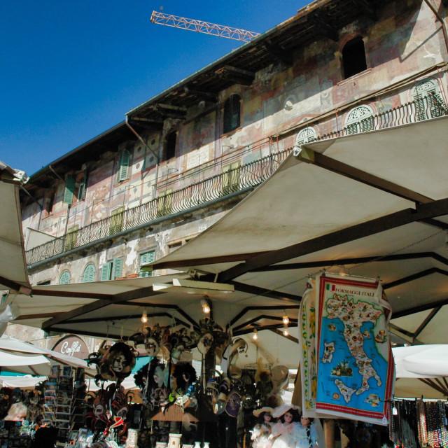 """Frescoes above street market"" stock image"