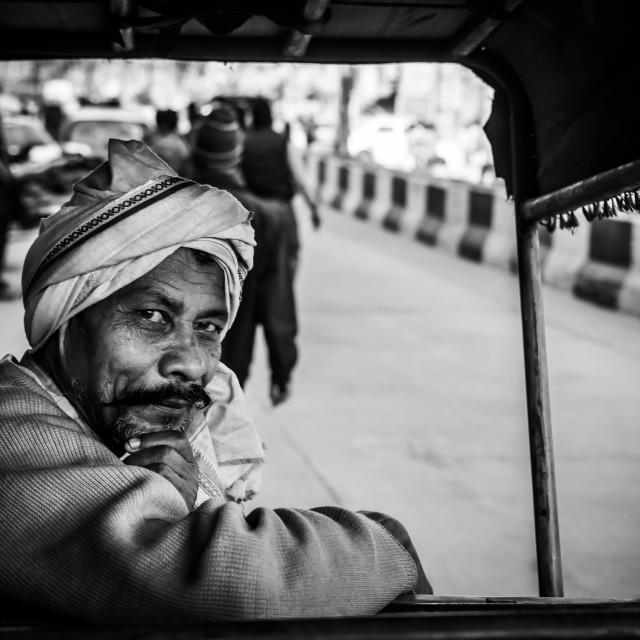 """Rickshaw Man, N.Delhi, India"" stock image"