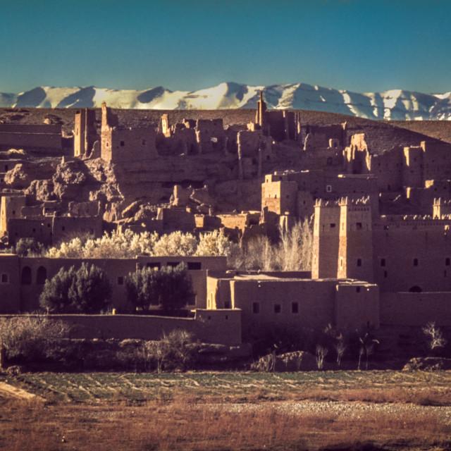 """Old desert town & Atlas Mountains"" stock image"