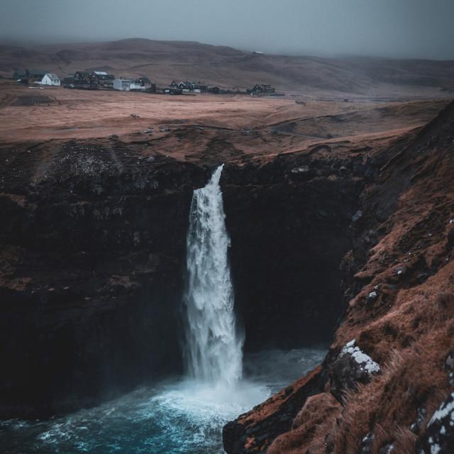 """""""Mulafossur waterfall stormy"""" stock image"""