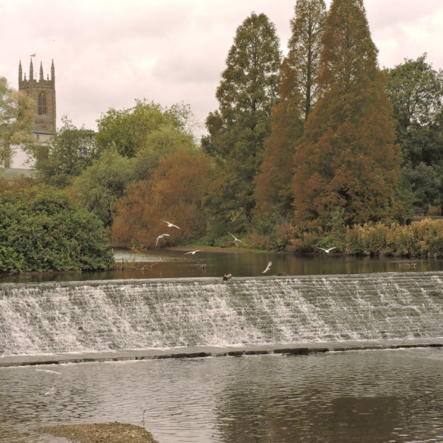 """""""Derby Cathedral Riverside View October 2020"""" stock image"""