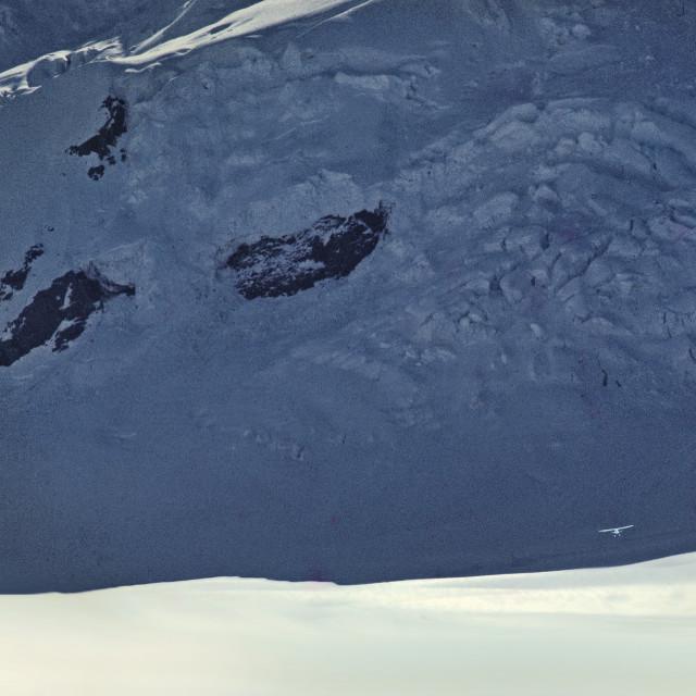 """Skiplane ascent from Tasman Glacier"" stock image"