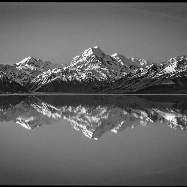 """Mt. Cook reflected in Lake Pukaki"" stock image"
