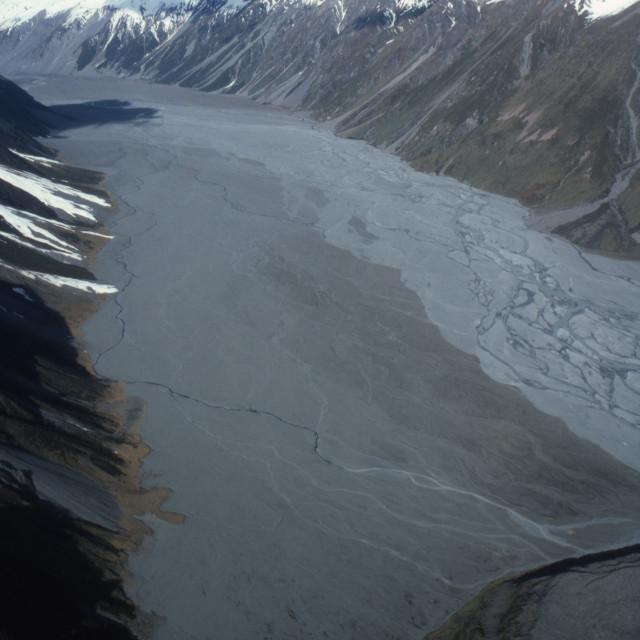 """Lower Tasman Glacier (aerial)"" stock image"