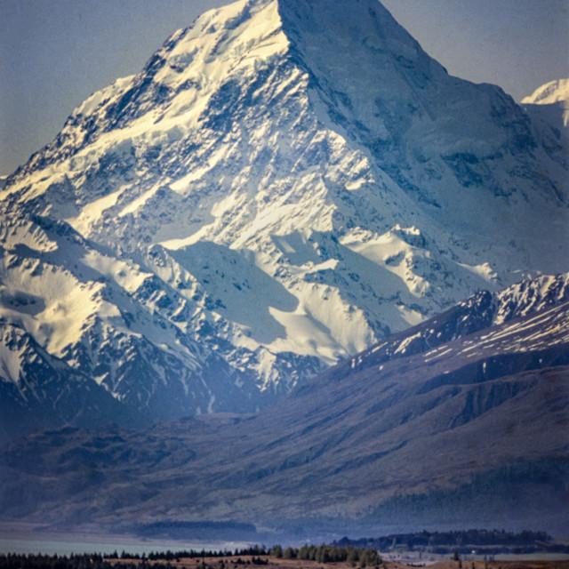 """""""Mt. Cook (Aoraki) reflected in Lake Pukaki reflected in Lake Puk"""" stock image"""