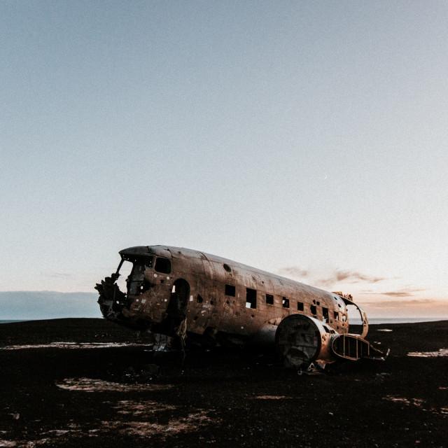 """Plane Wreck at Sunset"" stock image"