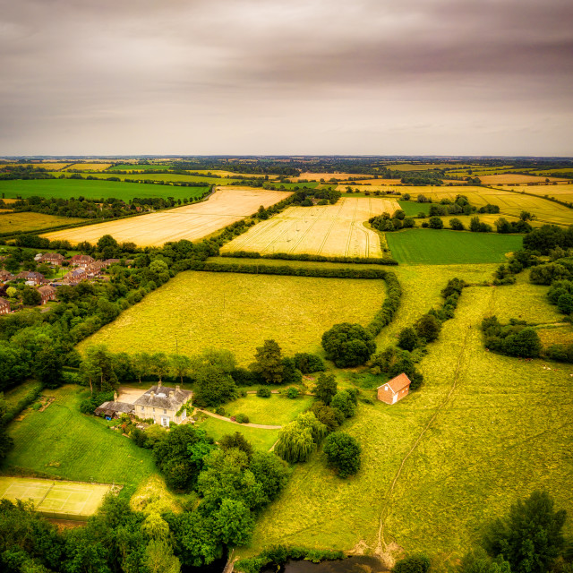 """""""Aerial view of Suffolk countryside"""" stock image"""