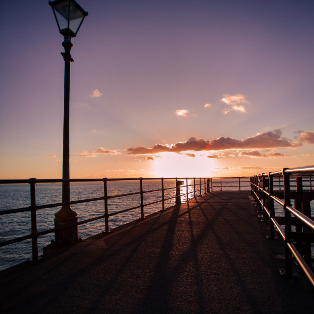 """""""Sunset on the Pier"""" stock image"""