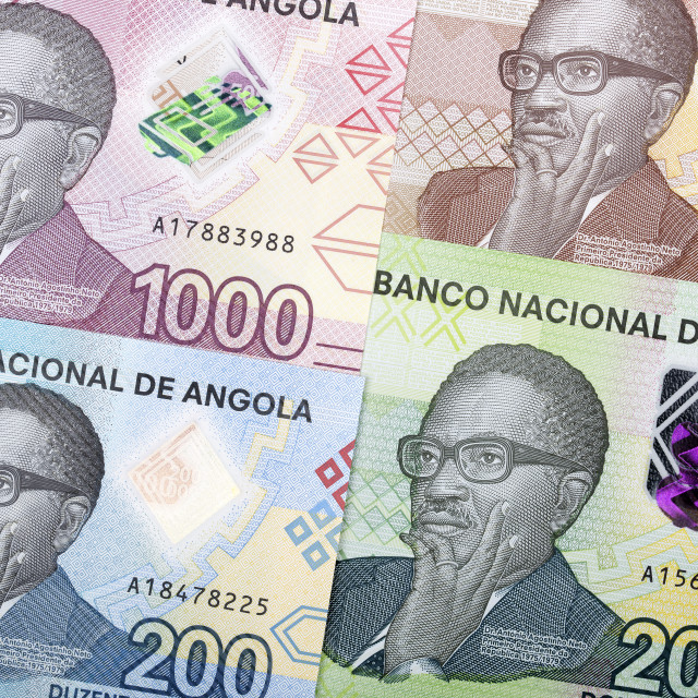 """Angolan money a new series of banknotes"" stock image"